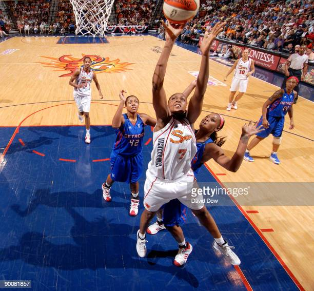 Sandrine Gruda of the Connecticut Sun shoots the basketball against the Detroit Shock during the WNBA game on August 25 2009 at the Mohegan Sun Arena...