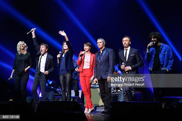 Sandrine Kiberlain Alain Souchon Carla Bruni Sarkozy Jeanne Cherhal Julien Clerc Designer of the show Pierre Souchon and Gael Faure perform during...