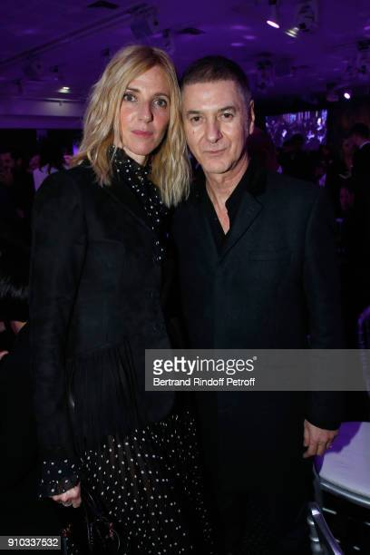 Sandrine Kiberlain and Etienne Daho attend the 16th Sidaction as part of Paris Fashion Week on January 25 2018 in Paris France