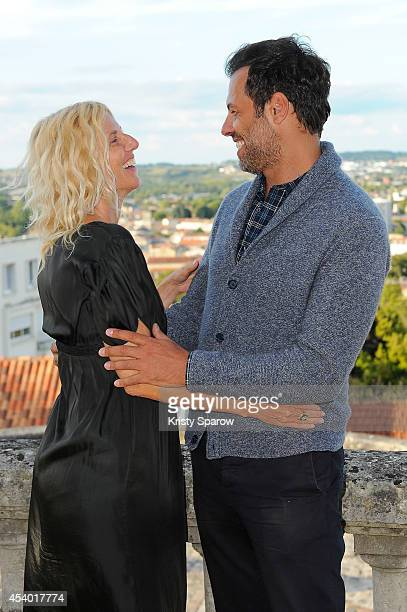 Sandrine Kiberlain and Laurent Lafitte attend the 'Elle l'adore' Photocall at Hotel Mercure during the 7th Angouleme FrenchSpeaking Film Festival on...