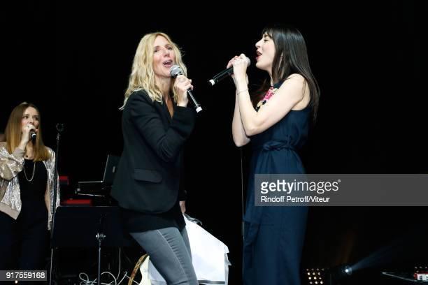Sandrine Kiberlain and Nolwenn Leroy perform during the Charity Gala against Alzheimer's disease at Salle Pleyel on February 12 2018 in Paris France