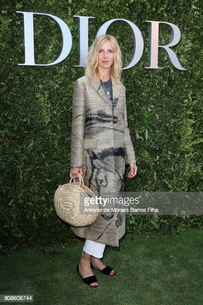 Sandrine Kiberlain attends 'Christian Dior couturier du reve' Exhibition Launch celebrating 70 years of creation at Musee Des Arts Decoratifs on July...
