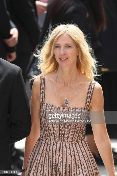 Sandrine Kiberlain attends the Christian Dior Haute Couture Fall/Winter 20172018 show as part of Haute Couture Paris Fashion Week on July 3 2017 in...