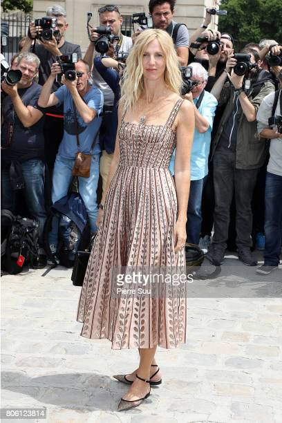 Sandrine Kiberlain is seen arriving at the 'Christian Dior' show during Paris Fashion Week Haute Couture Fall/Winter 20172018 on July 3 2017 in Paris...