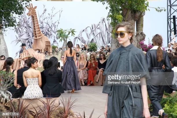 Sandrine Kiberlain Marisa Berenson and Natalie Portman attend the Christian Dior Haute Couture Fall/Winter 20172018 show as part of Haute Couture...
