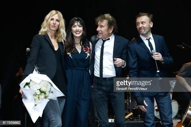 Sandrine Kiberlain Nolwenn Leroy Alain Souchon and Pierre Souchon attend the Charity Gala against Alzheimer's disease at Salle Pleyel on February 12...