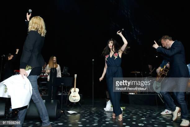 Sandrine Kiberlain Nolwenn Leroy and Pierre Souchon perform during the Charity Gala against Alzheimer's disease at Salle Pleyel on February 12 2018...