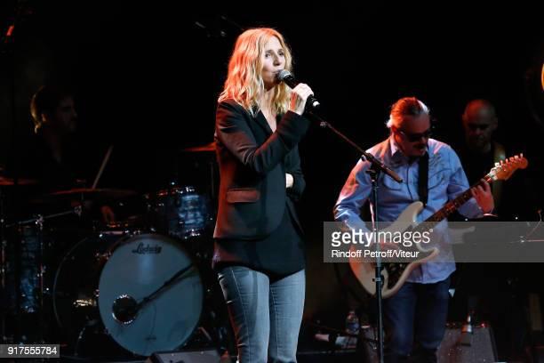 Sandrine Kiberlain performs during the Charity Gala against Alzheimer's disease at Salle Pleyel on February 12 2018 in Paris France
