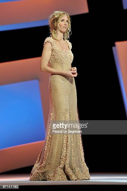 Sandrine Kiberlain poses on stage during the 35th Cesar Film Awards at the Theatre du Chatelet on February 27, 2010 in Paris, France.