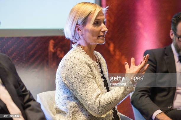 Sandrine Klock director of sales at Quanta Shares speaks during the Bloomberg FX18 Summit in Mexico City Mexico on Wednesday March 14 2018 The summit...