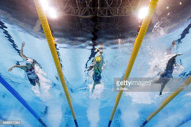 Sandrine Mainville of Canada, Emma McKeon of Australia and Simone Manuel of the United States compete in the Final of the Women's 4 x 100m Freestyle...
