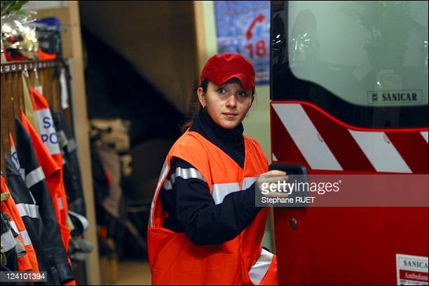 Sandrine Michalet firefighter at Loriol fire station in Lorion Sur DromeFrance in December2002