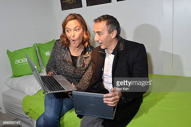 Sandrine Quetier and Elie Semoun attend the Acer Pop Up Store Launch Party at Les Halles on November 20 2014 in Paris France