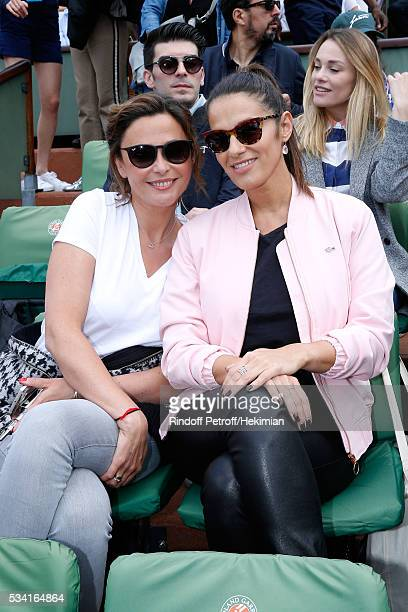 Sandrine Quetier and Elisa Tovati attend the 2016 French Tennis Open Day Four at Roland Garros on May 25 2016 in Paris France