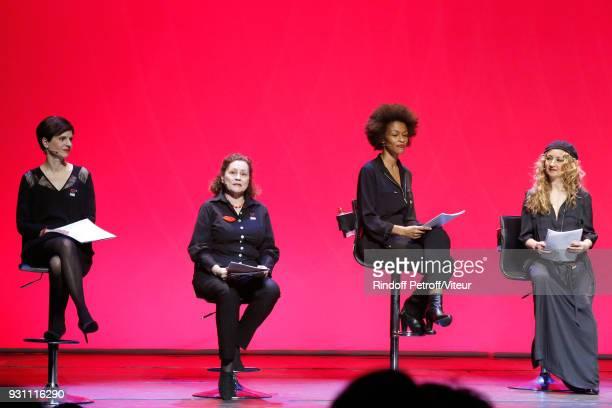 Sandrine Rousseau Catherine Arditi Rachel Khan and Christelle Chollet perform in Les Monologues du Vagin The Vagina Monologues during Paroles...