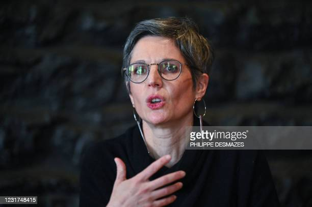 Sandrine Rousseau, former EELV's spokeswoman and candidate for the Ecologist primary for 2022 French presidential election, speaks during candidate...