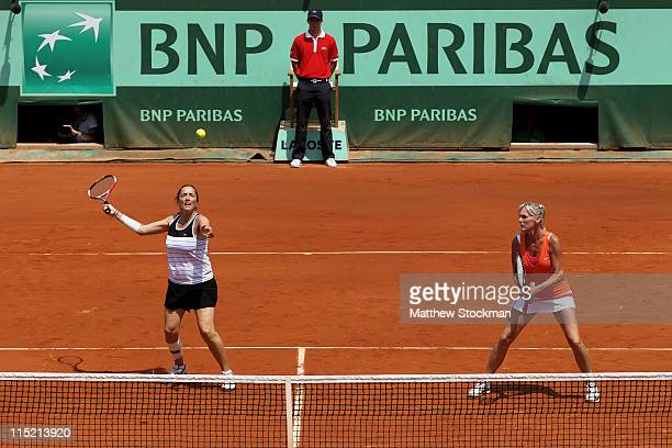 Sandrine Testud of France and Andrea Temesvari of Hungary in action during the women's legends final match between Lindsay Davenport of USA and...