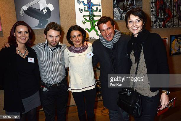 Sandrine Vermessen from AMFE painter Damien Paul Gal AMFE President Helene Gaillard Benjamin Castaldi and Camille Therond Charles from AMFE attend...