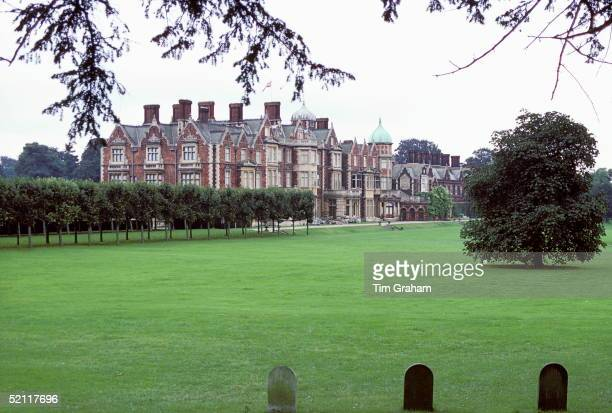 Sandringham House In Norfolk circa 1985 In The Foreground Are The Corgies Graves