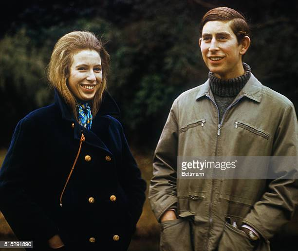 Sandringham Norfolk England Prince Charles in a 'mountaineering jacket' and Princess Anne are shown on the grounds of Sandringham House in a...