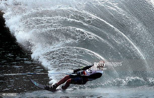 Sandro Ambrosi of Mexico competes in the men's slalom waterski preliminary round on Day 10 of the Toronto 2015 Pan Am Games on July 20, 2015 in...