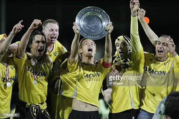 Sandro Calabro Frank van Kouwen Keisuke Honda Samir El Gaaouiri and Adil Auassar of VVVVenlo celebrates winning the Eerste Divisie title after the...
