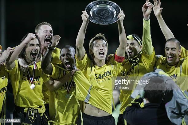 Sandro Calabro Frank van Kouwen Ruben Schaken Keisuke Honda Samir El Gaaouiri and Adil Auassar of VVVVenlo celebrates winning the Eerste Divisie...