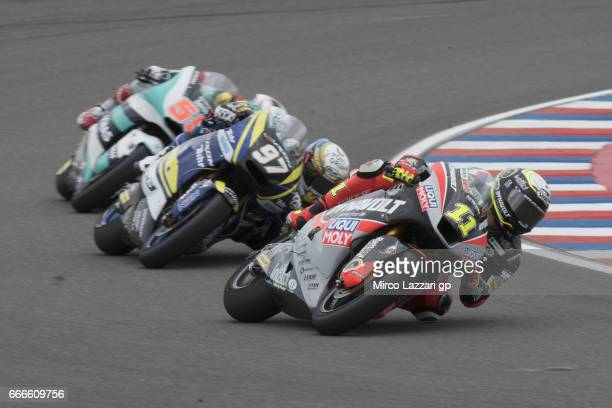 Sandro Cortese of Germany and Dynavolt Intact GP leads the field during the Moto2 race during the MotoGp of Argentina Race on April 9 2017 in Rio...