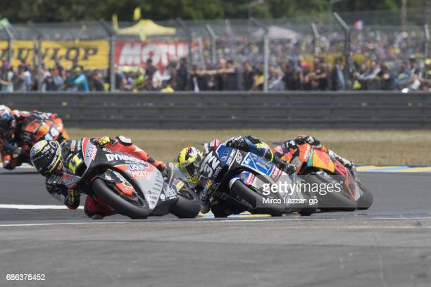 Sandro Cortese of Germany and Dynavolt Intact GP leads the field during the Moto2 race during the MotoGp of France Race on May 21 2017 in Le Mans...