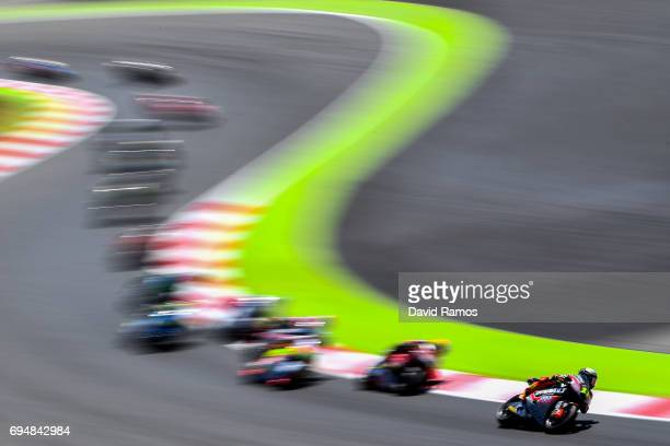 Sandro Cortese of Germany and Dynavolt Intact GP rides during the Moto2 race at Circuit de Catalunya on June 11, 2017 in Montmelo, Spain.