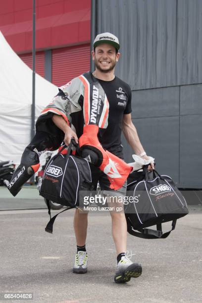 Sandro Cortese of Germany and Dynavolt Intact GP walks in paddock during the MotoGp of Argentina Previews on April 6 2017 in Rio Hondo Argentina