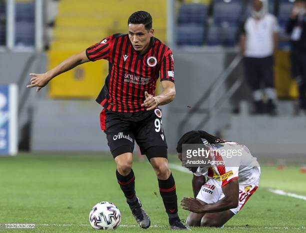 Sandro De Lima of Genclerbirligi in action against Lamine Gassama of Goztepe during the Turkish Super Lig week 41 soccer match between Genclerbirligi...