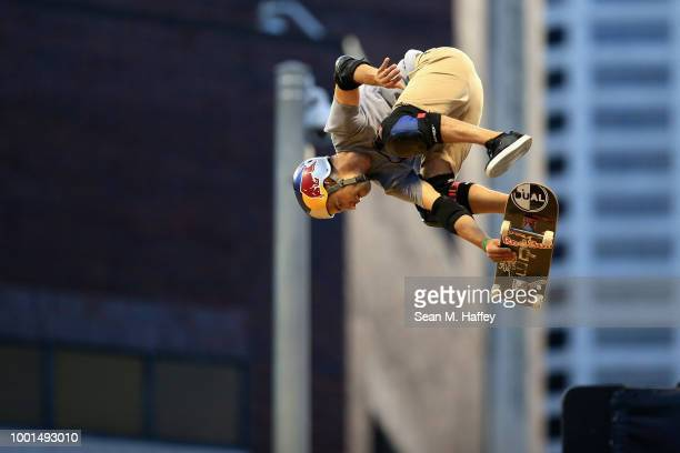 Clay Kreiner competes during the Men's Skateboard Vert Qualifier at US Bank Stadium on July 18 2018 in Minneapolis Minnesota