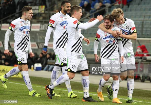 Sandro Ingolitsch of Sturm Graz, Gregory Wuethrich of Sturm Graz, Ivan Ljubic of Sturm Graz, Otar Kiteishvili of Sturm Graz and David Nemeth of Sturm...