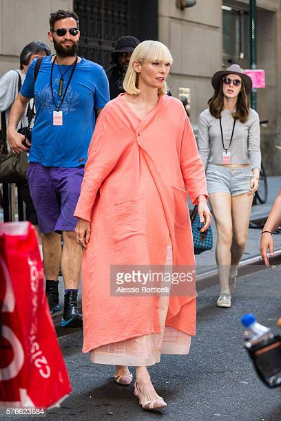 Sandro Kopp and Tilda Swinton are seen on set of 'Okja' in Downtown on July 16 2016 in New York New York