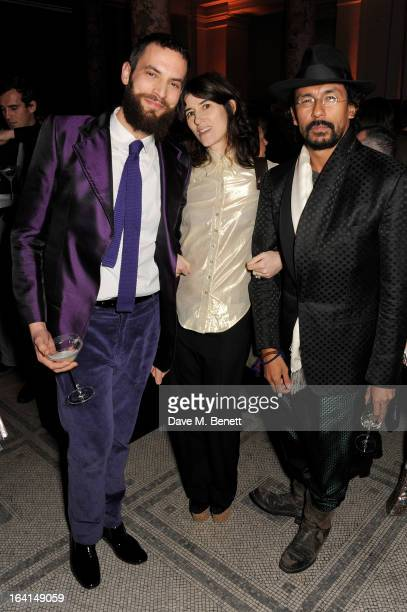 Sandro Kopp Bella Freud and Haider Ackermann attend the private view for the 'David Bowie Is' exhibition in partnership with Gucci and Sennheiser at...