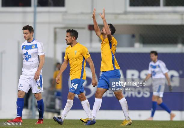 Sandro Lima of GD Estoril Praia celebrates after scoring a goal during the Ledman Liga Pro match between GD Estoril Praia and FC Arouca at Estadio...