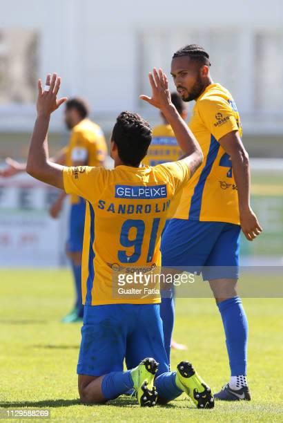 Sandro Lima of GD Estoril Praia celebrates after scoring a goal during the Ledman Liga Pro match between GD Estoril Praia and Vitoria SC B at Estadio...