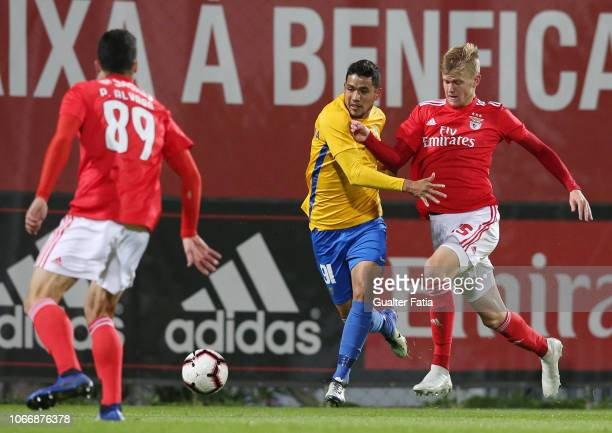 Sandro Lima of GD Estoril Praia with Keaton Parks of SL Benfica B in action during the Ledman Liga Pro match between SL Benfica B and GD Estoril...