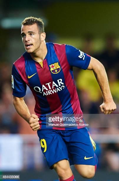 Sandro of Barcelona celebrates after scoring during the La Liga match between Villarreal CF and FC Barcelona at El Madrigal stadium on August 31 2014...