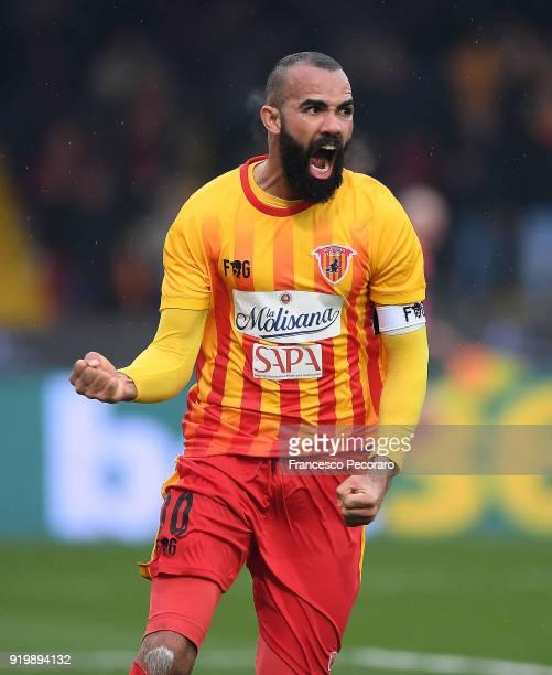 Sandro of Benevento Calcio celebrates after scoring the 11 goal during the serie A match between Benevento Calcio and FC Crotone at Stadio Ciro...