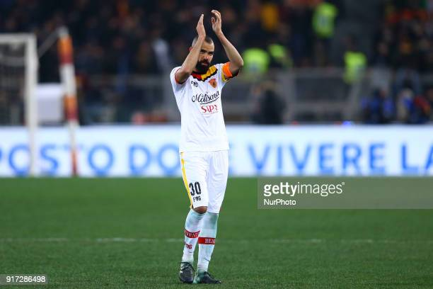 Sandro of Benevento greeting the supporters during the serie A match between AS Roma and Benevento Calcio at Stadio Olimpico on February 11 2018 in...