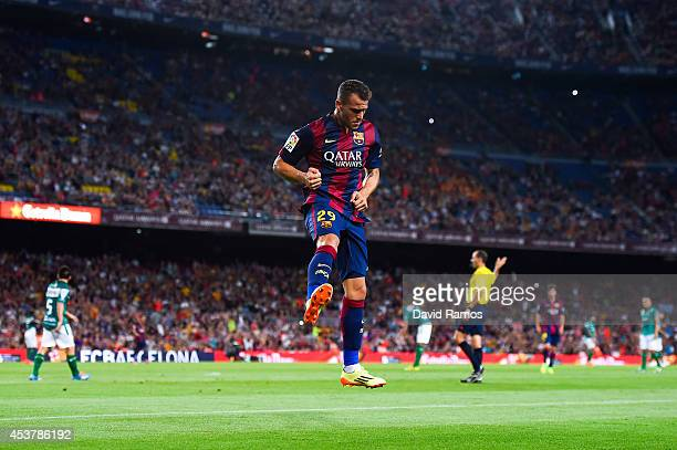Sandro of FC Barcelona celebrates after scoring his team's sixth goal during the Joan Gamper Trophy match between FC Barcelona and Club Leon at Camp...