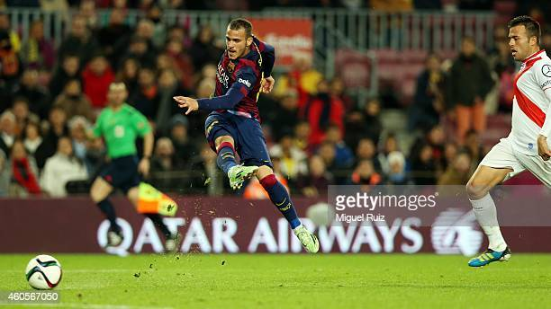 Sandro of FC Barcelona scores the eighth goal during the Copa del Rey 1/16 2nd leg match between FC Barcelona and SD Huesca at Camp Nou on December...