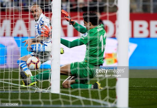 Sandro of Real Sociedad tries to score during the La Liga match between Girona FC and Real Sociedad at Montilivi Stadium on February 25 2019 in...