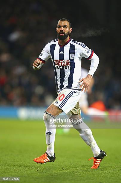 Sandro of West Bromwich Albion in action during the Barclays Premier League match between West Bromwich Albion and Swansea City at The Hawthorns on...