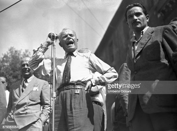 Sandro Pertini talks during a political meeting on the day of the assassination attempt of Palmiro Togliatti on the 14h of July 1948 Togliatti...
