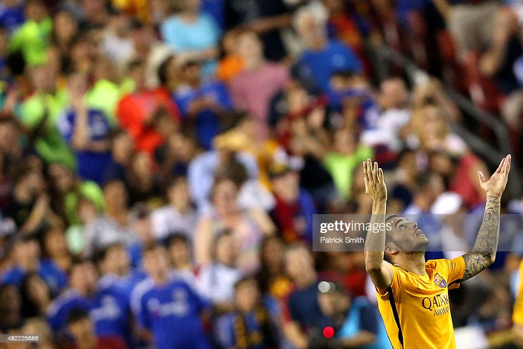 Sandro Ramirez #19 of Barcelona celebrates a goal against Chelsea in the second half during the International Champions Cup North America at FedExField on July 28, 2015 in Landover, Maryland. Chelsea won in a penalty shootout.