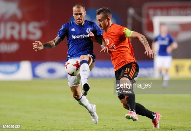 Sandro Ramirez of Everton and Dominik Kruzliak of Ruzomberok in action during the UEFA Europa League Qualifier between MFK Ruzomberok and Everton on...