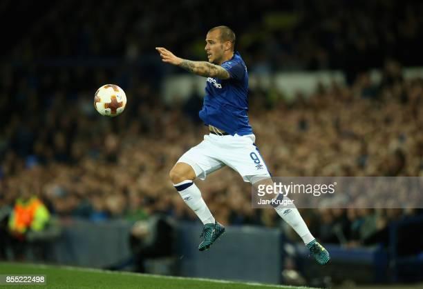 Sandro Ramirez of Everton controlls the ball during the UEFA Europa League group E match between Everton FC and Apollon Limassol at Goodison Park on...